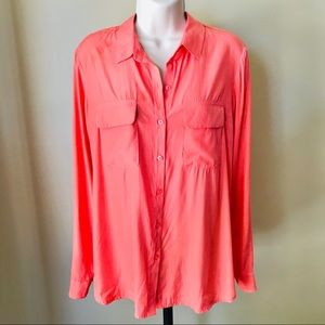 Express The City Coral Button Down Shirt Size M